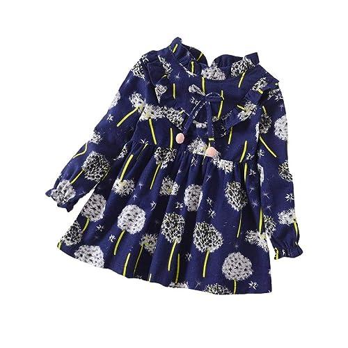 Vestidos niña,❤️ Modaworld Vestido de Estampado Floral de Manga Larga para niñas pequeñas Vestido de Princesa de Fiesta Otoño bebés Camisas 6 Mes - 5 años