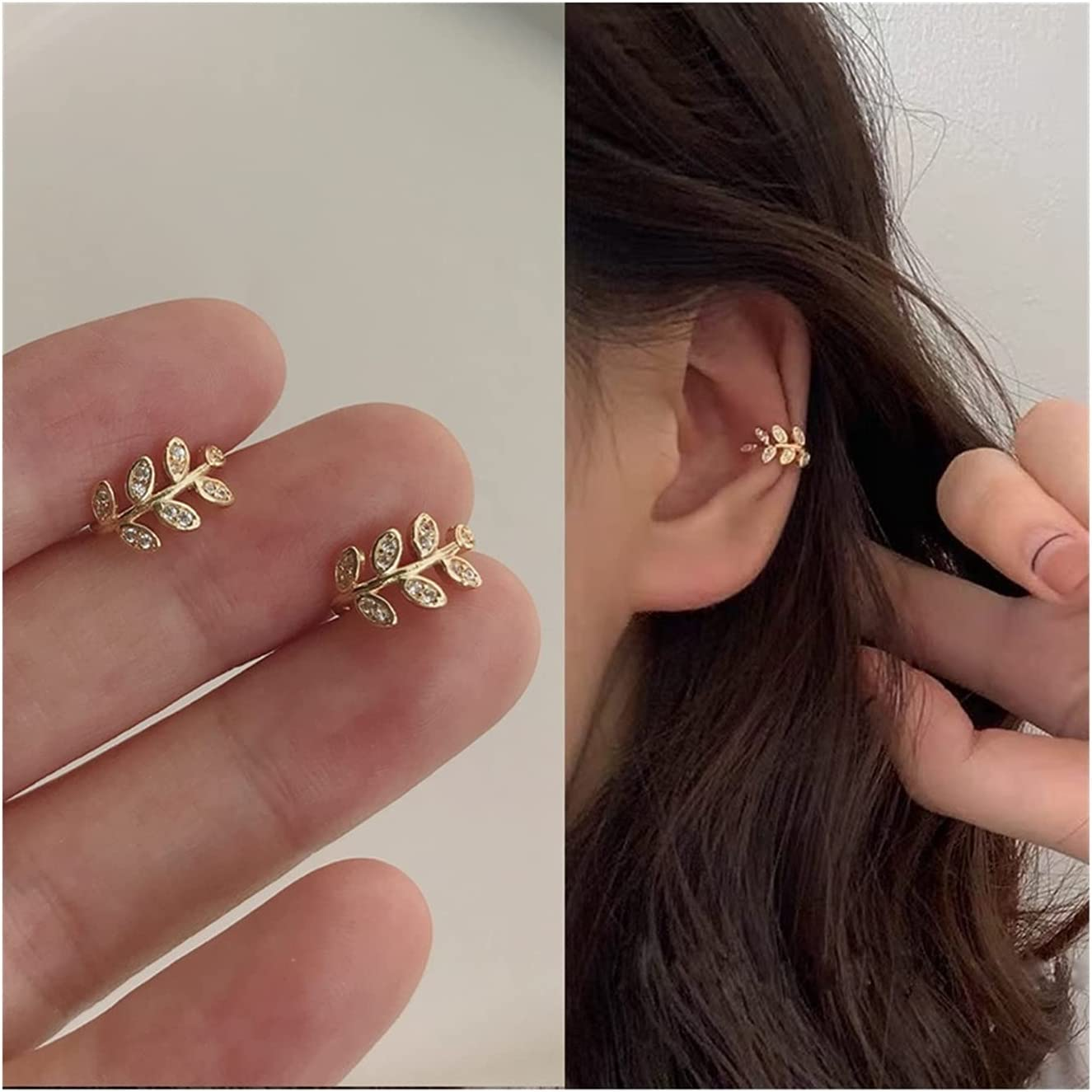 SYBLD Fashion Clip-on Earrings for Women Without Pierced Retro Crystal Earrings Jewelry Gifts (Metal Color : E014)