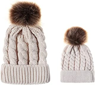 aliveGOT 2PCS Parent-Child Hat Warmer, Mother & Baby Daughter/Son Winter Warm Knit Hat Family Crochet Beanie Ski Cap