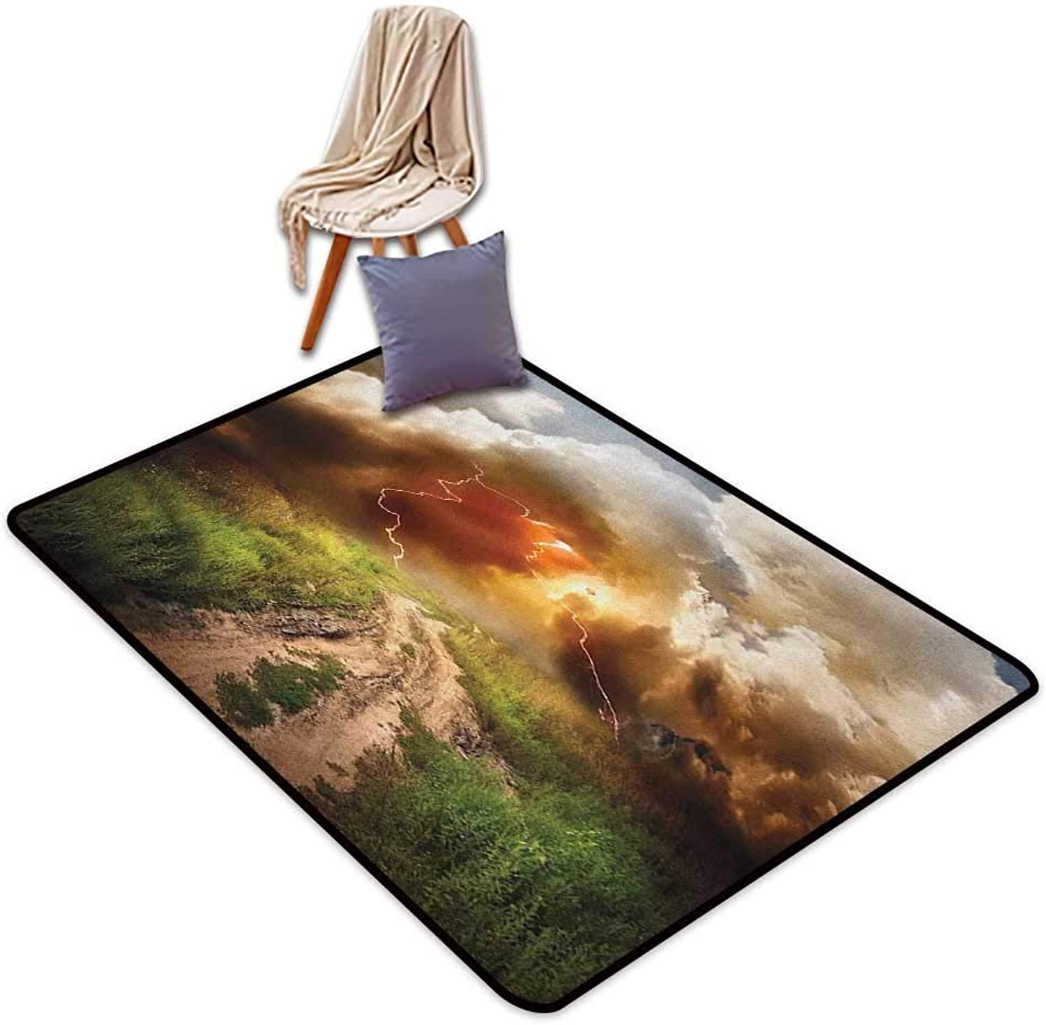 Door Rug Area Rug Nature Dazzling Big Rain Cloud Over Earth Path Road Countryside Field Climate Energy Image Door Rug Increase W5'xL6'