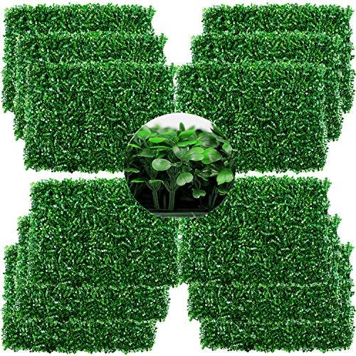 sumunior フェイクグリーン 壁掛け ウォールグリーン 壁面緑化 12枚 60X40cm/枚 高密度 フェイクグリーンマット 壁掛け 人工壁の芝生リアル 壁のデコレー 庭DIY用品 植物の壁装飾