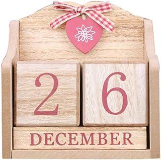 Naturale Amuzocity Flipchart in Legno Pratico Calendario Perpetuo Decorazione Calendario da Scrivania