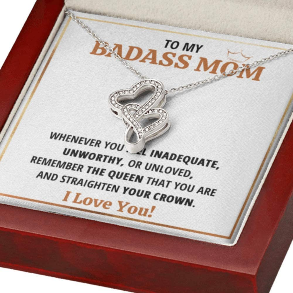 Mom Necklace Gift From Low price Daughter Son Sale Queen To Badass Doubl My