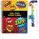 Dated Elementary Student Planner for Academic Year 2021-2022 (Matrix Style - 8.5'x11' - Comic) - Includes Ruler/Bookmark and Planning Stickers