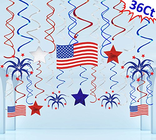 Moon Boat 36 Ct Fourth of July Patriotic Decorations Hanging Swirl - 4th of July American Flag/Stars...