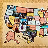 US Photo Map – 24 x 36 inch United States Travel Memory Map – Personalize with Photos of the States You've Been To - Includes Cutting Stencils and Photo Cropping Website Access