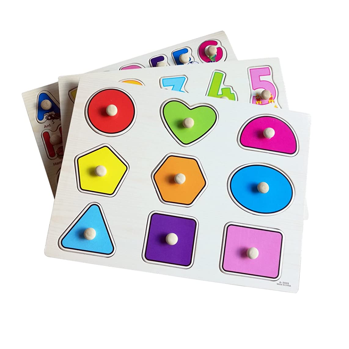 Habudda Wooden Pegged Puzzles For Toddlers Chunky Puzzles With Knobs Baby Letter,Alphabet, Number, Shape, Color Recognition (3 PACK)