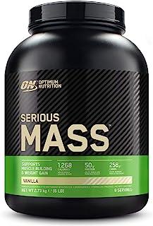 Optimum Nutrition ON Serious Mass Proteina en Polvo Mass Gainer Alto en Proteína. con Vitaminas. Creatina y Glutamina. Vainilla. 8 Porciones. 2.73kg. Embalaje Puede Variar