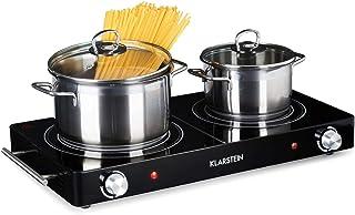KLARSTEIN VariCook Duo - Plaque de cuissson électrique, Vitrocéramique, Infrarouge, 3000W, 2 Foyers halogènes, 20 et 16,5c...