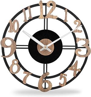 Black Metal Wall Clocks for Living Room Decor   Powder-Coated Steel Wall Clock for Bedroom Stylish Latest   Iron Clocks fo...