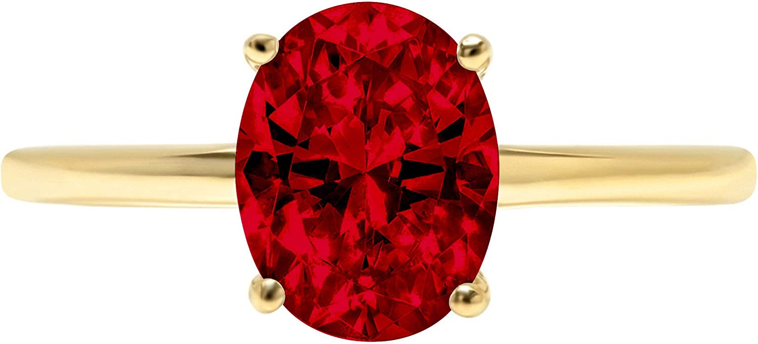 1.9ct Brilliant Oval Cut Solitaire Natural Crimson Deep Red Garnet Ideal VVS1 4-Prong Engagement Wedding Bridal Promise Anniversary Ring Solid 14k Yellow Gold for Women