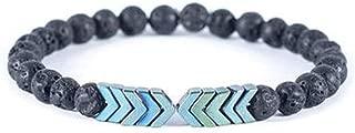 Volcanic Lava Stone Essential Oil Diffuser Bracelets- Bangle Healing Balance Yoga Magnet Arrow Beads Bracelets- for Men Women (3)
