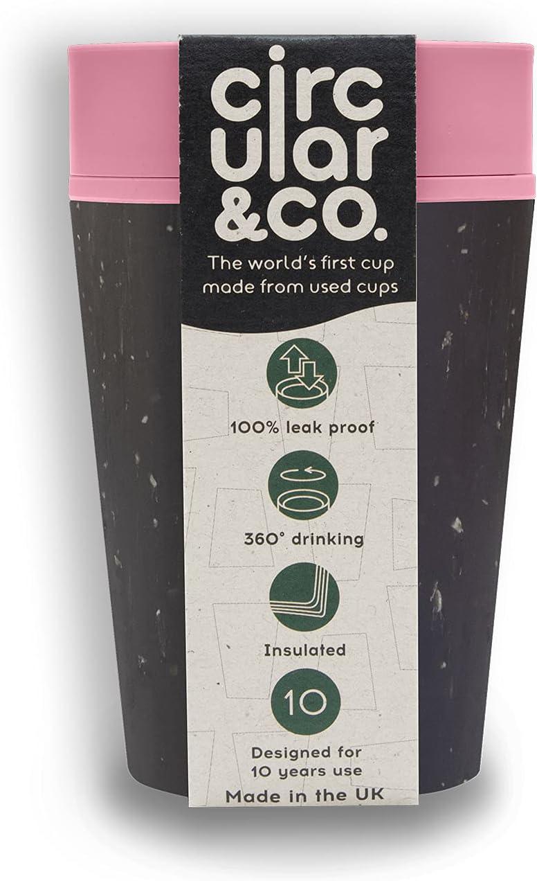 Circular and Co Taza de café reutilizable a prueba de fugas, 227 ml, la primera taza de viaje del mundo hecha de tazas de café recicladas, sostenible y aislada