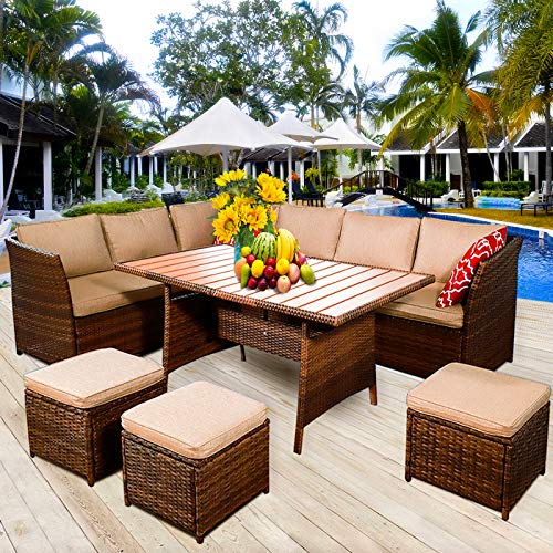 MEETWARM 7 Pieces Wicker Patio Furniture Set Outdoor Conversation Set All Weather Rattan Sectional Sofa Couch Garden Dining Table Chair Set with Ottoman (Brown)