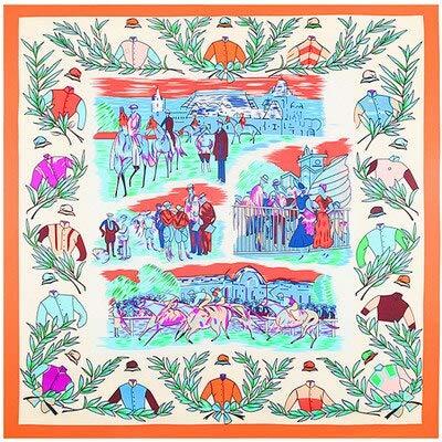 YDMZMS 100% Zijde Twill Merk Zijde Sjaal Voor Vrouwen, Grote Vierkante Sjaals Hoofdband Royal Ascot Olijf Tranch Print Sjaal Hijab 1