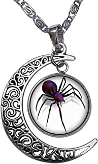 Halloween Black Widow Spider Crescent Moon Galactic Universe Glass Cabochon Pendant Necklace