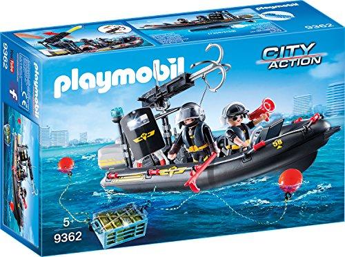 PLAYMOBIL City Action 9362 SEK-Schlauchboot, Schwimmfähig, Ab 5 Jahren