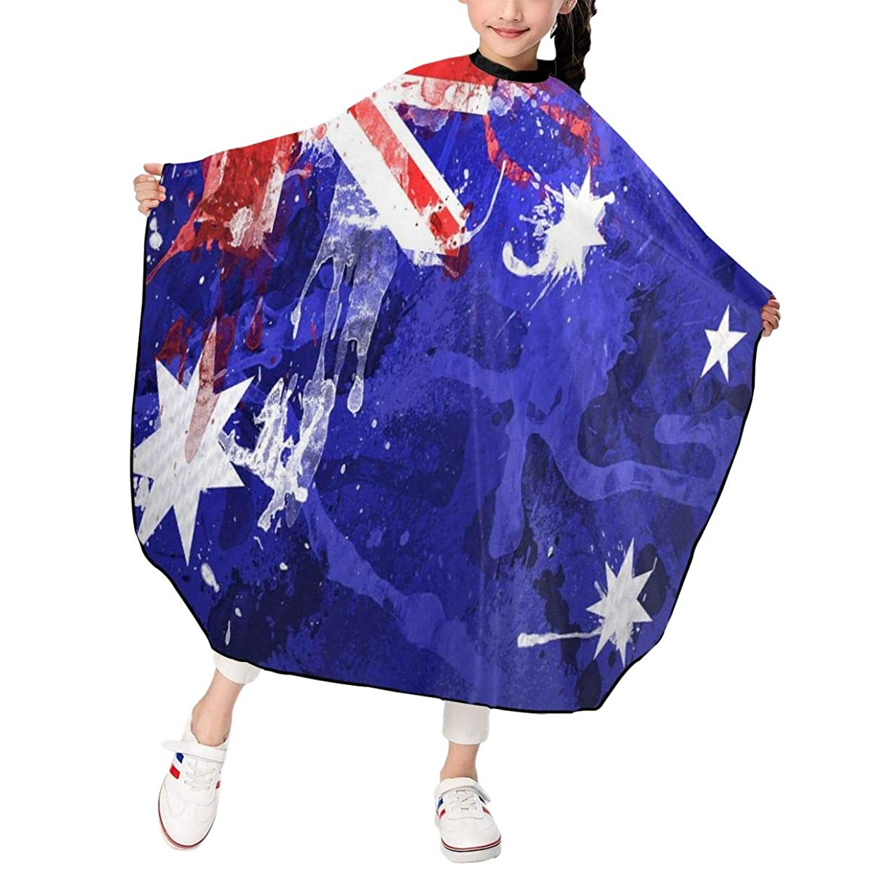 ポータブル批判的方法オーストラリアのフラグ 子供エプロン ヘアーエプロン 散髪 ケープ 美容エプロン 静電気防止 ヘアカット ファミリー理髪 防水 自宅カット 120*100cm