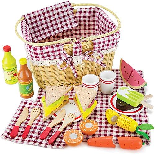 picnic items for kids Imagination Generation Slice & Share Picnic Basket - Wood Eats! Play Food Playset with Cutting Fruits, Veggies, Tablecloth and More - Great for Indoor & Outdoor Pretend Play (34 pcs.)