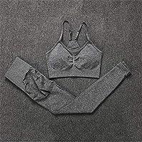 YWH-WH シームレスなジムセット女性フィットネスヨガセットスポーツスーツハイウエストレギンス+プッシュアップブラジャー2ピースセットスポーツウェア 吸汗速乾 UVカット (Color : CB347 dark grey, Size : L)