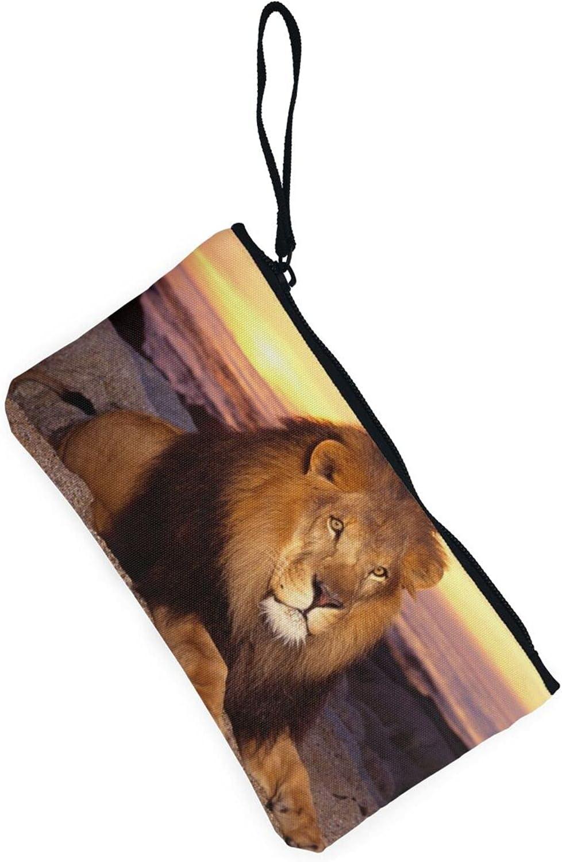 AORRUAM Lion at dusk Canvas Coin Purse,Canvas Zipper Pencil Cases,Canvas Change Purse Pouch Mini Wallet Coin Bag