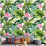Watercolor Flamingo Tropical Peel and Stick Removable Wallpaper Pink/Green/White