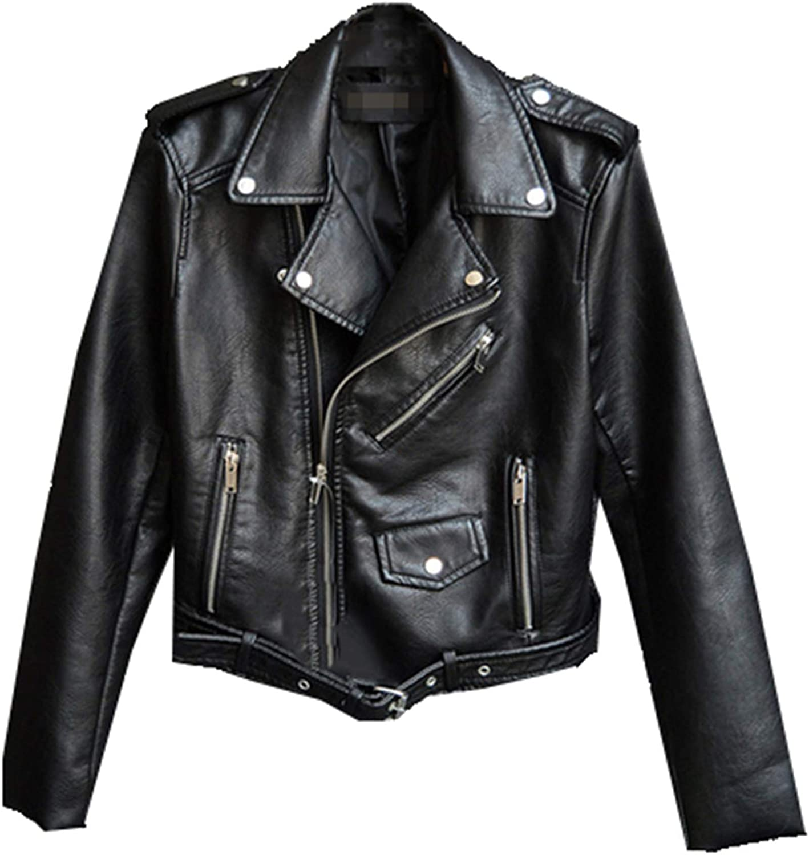 Yiqinyuan Plus Size Faux Leather Jackets Lady's Short PU Leather Jacket Spring Zipper Locomotive Coat
