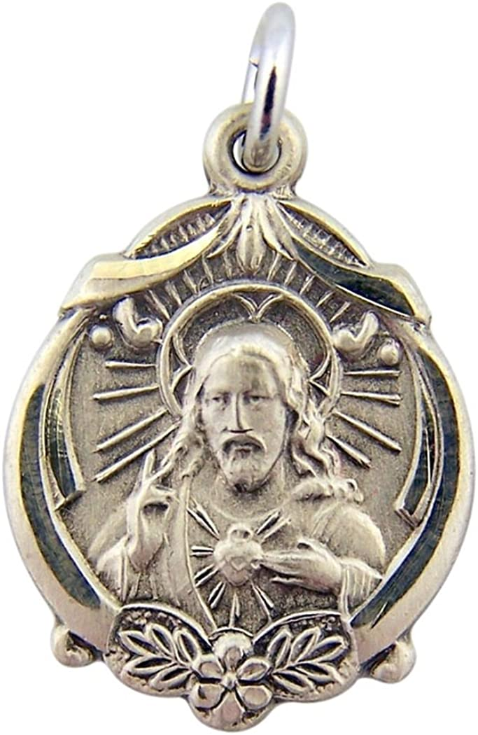 HMHInc Sterling Ranking TOP5 Silver Latest item Sacred Heart of Floral Border Christ Scap