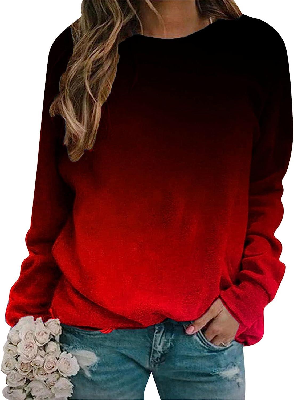 Womens Long Sleeve Tops,Womens Casual Sweatshirt Crewneck Long Sleeve Fall Pullover Loose Fit Long Tunic Tops