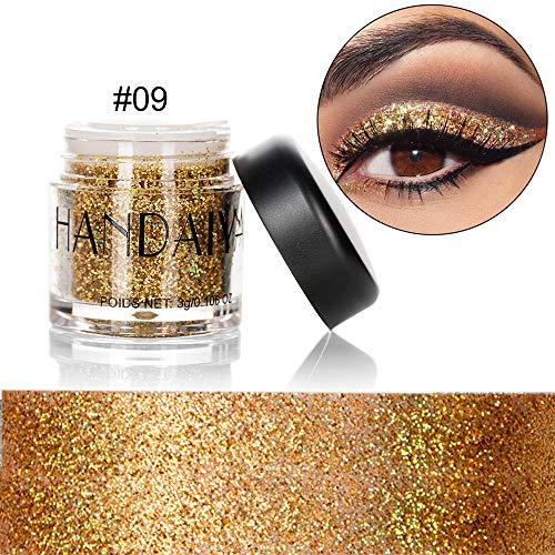 CHuangQi Glitter-Lidschatten, 10 Monochrome Pailletten-Lidschatten für Face Eyes Nail Body Art...