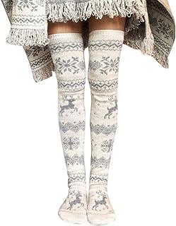 Tenflyer Medias de Navidad, Medias de Punto de Navidad para Mujeres Muslo Engrosado Alto sobre la Rodilla Copos de Nieve Largos Calcetines con patrón de Alces,Calcetines hasta la Rodilla para Mujer
