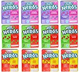 Nerds Variety Pack of 12 Nerds Cherry Watermelon, Strawberry Grape, and Watermelon Apple and Cherry Lemonade