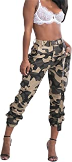 Women's Casual Camo High Waisted Skinny Long Pants Stretch Slim Fit Leggings with Belt Plus Size