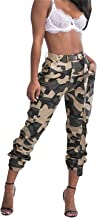 LROSEY Women's Casual Camo High Waisted Skinny Long Pants Stretch Slim Fit Leggings with Belt Plus Size