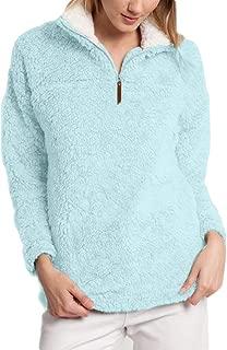 Women's Half Zip Fuzzy Fleece Long Sleeve Hooded Pullover