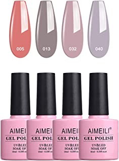 Aimeili Soak Off Uv Led Gel Nail Polish Multicolor/Mix Color/Combo Color Set Of 4Pcs X 10Ml - Kit Set 18