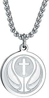 Basketball Athletes Jersey Number Cross Pendant Necklace for Boys Girls Women Men 22 24 Inch Stainless Steel Chain