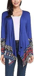 Jojckmen Women Floral Print Irregular Knit Loose Cardigan Girl Long Splicing Coat Jacket