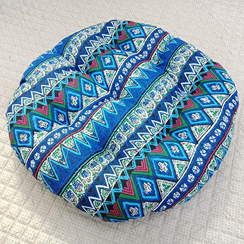 Comfort Hip Pain-Relief Seat Pad,Ethnic Style Round Cotton and Linen Thick futon Cushion-G_55*55cm