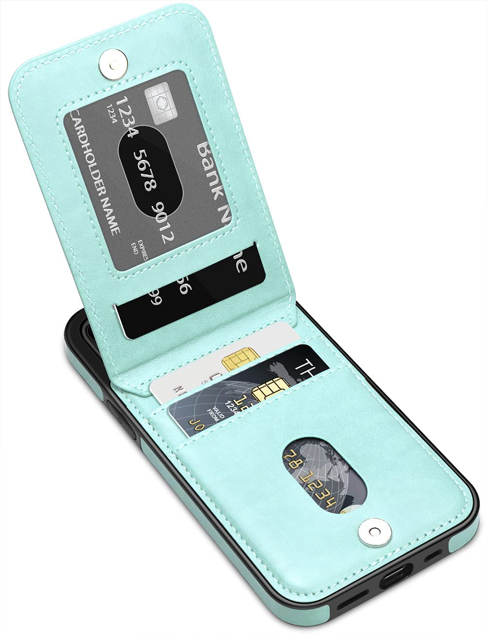 LakiBeibi for iPhone 12 Pro Max Case for Women Girls, Premium Leather iPhone 12 Pro Max Wallet Case with Card Slots Flip Protective Case for iPhone 12 Pro Max Phone Case 6.7 Inches (2020), Mint