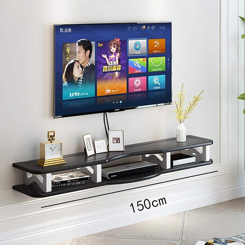 論理的集める無視壁掛けラック 2ティアウッドテレビ台、現代のホームDVDプレーヤーに適した浮動エンターテイメントユニット、スカイ/ヴァージンボックス、ゲームコンソール、テレビアクセサリーやスピーカー 家の壁の装飾 (Color : A, Size : 150CM)