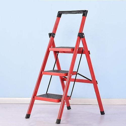 Drei vier Schritte Hocker Haushalt KlapÃleiter Dual Use Indoor Küche rutschfeste (Farbe   Rot, Größe   3-Step)