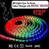 Music LED Strip Lights 6.6FT/2M 5V USB Powered Light Strip 5050 RGB Light Color Changing with M…