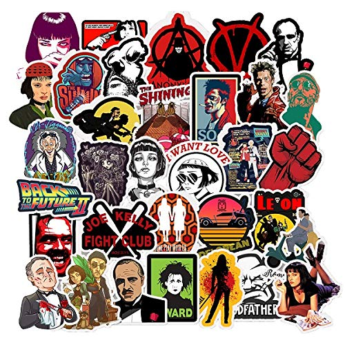 Stickers for Famous Movie Film Godfather Fight Club V for Vendetta for Hardhat Helmet Toolbox Laptop Computer for Boys Men Adult Movie Fun Lovers Party Decoration 50 Packs