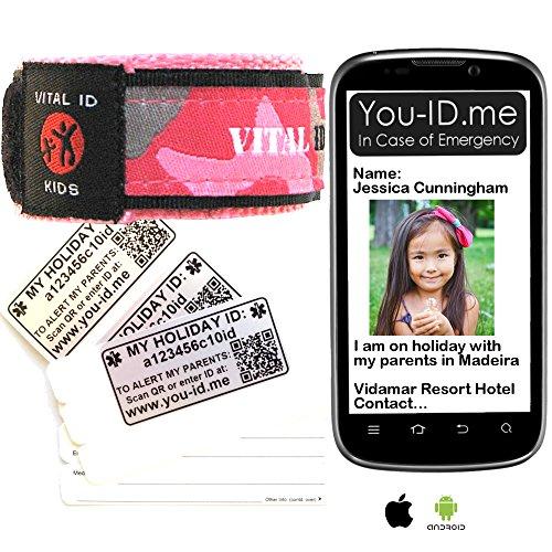 Meisjes HOLIDAY Alert ID Polsband Reisarmband kan sms sturen naar de mobiele telefoon van de ouder* Als ze verloren, vermist of genomen zijn EN hun armbandidentiteit is toegankelijk voor derden 100% waterdicht