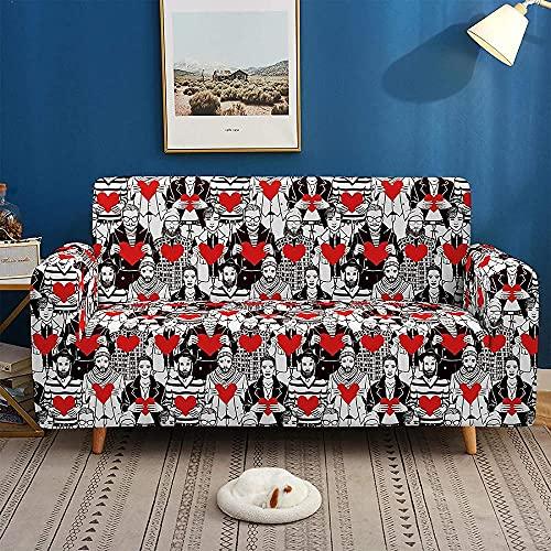ADIS 3D Digital Abstrakt Charakter Rutschfest Elastisch Sofabezug All-Inclusive Sofabezug Für Alle Jahreszeiten 1 2 3 4 Sitze E_1-Sitzer 90-140cm