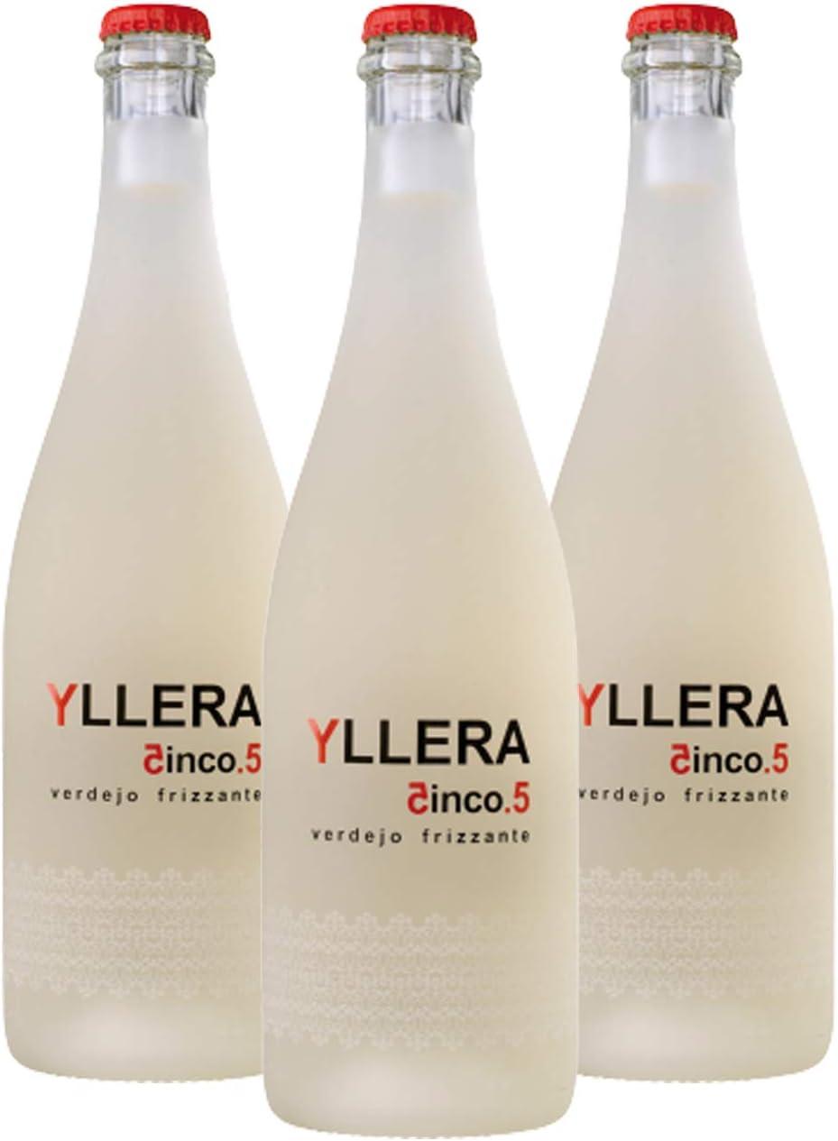 Yllera | Vino Blanco Yllera 5.5 Verdejo Frizzante | Pack de 3 uds | Verdejo | 75 cl | Mosto Parcialmente Fermentado | Dulce y Cítrico | Fresco y Refrescante | con Finas Burbujas | Vino Español