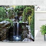 Cortina de Ducha de Paisaje de Primavera Flores Plantas Verdes Paisaje de Bosque Juego de Cortinas de baño mampara de baño Impermeable S.6 90x180cm
