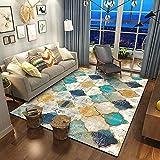 alfombras Salon Grandes Alfombra Azul y Amarilla, patrón geométrico Mecanismo Suave antiincrustante no Cae en Color Alfombra alfombras Entrada casa -Azul_160x200cm