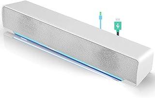 Tragbare Mini Soundbar, verkabelter USB Soundbar Lautsprecher, Musik Player, Bass Surround mit 3,5 mm Audio Stecker für Handy/Tablet/Projektor/Heimkino / MP3 / MP4.(Weiß)